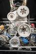 Leinwandbild Motiv vehicle engine bay and supercharger