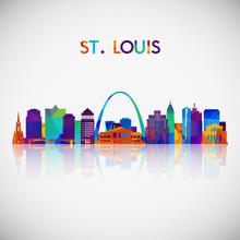 St.Louis Skyline Silhouette In...