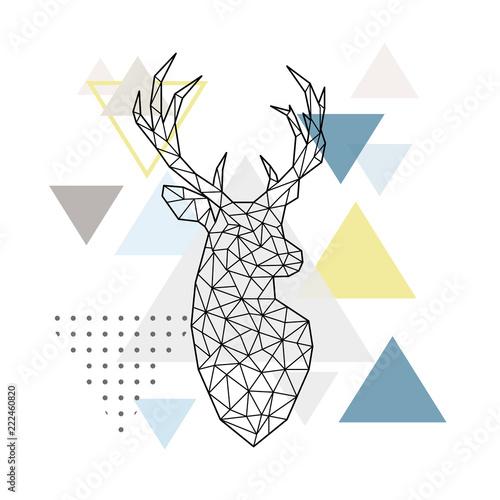abstrakcjonistyczna-geometryczna-sylwetka-rogacz-na-prostym-trojboka-tle-skandynawski-styl-ilustracji-wektorowych