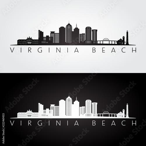 Fotomural  Virginia Beach, USA skyline and landmarks silhouette, black and white design, vector illustration