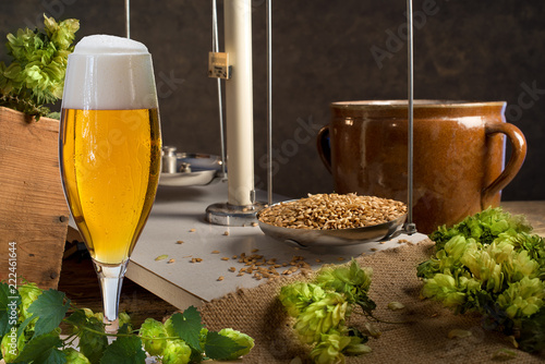 Poster Bier / Cider Home Brewing of Beer. Still life with hops, beer and barley.