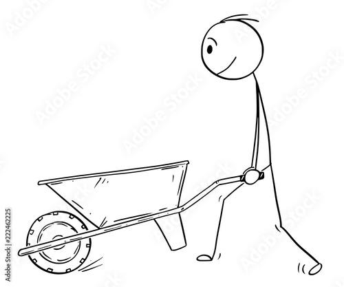 Stampa su Tela Cartoon stick drawing conceptual illustration of man pushing empty wheelbarrow