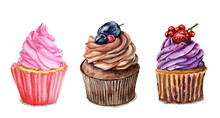 Watercolor Set Of Cupcakes. Food Illustration, Cakes Is Isolated On White Background. Muffins For Greeting Birthday Postcard, Poster For Cafe And Pastry Shop.