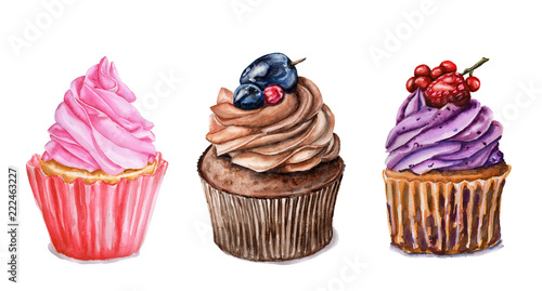 Watercolor set of cupcakes Wallpaper Mural
