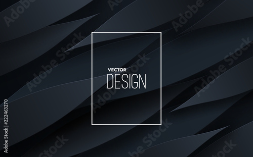 Abstract 3d Background With Black Paper Layers Vector