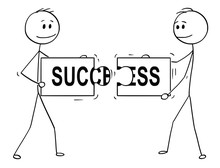 Cartoon Stick Man Drawing Conceptual Illustration Of Two Businessmen Holding And Connecting Matching Pieces Of Jigsaw Puzzle With Success Text. Business Concept Of Teamwork, Collaboration And Problem
