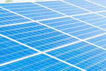 Solar Panels With Sunlight And...
