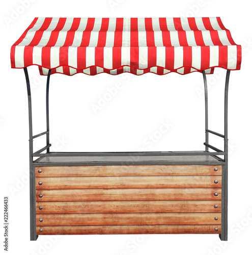 Fotografia Wooden market stand stall with metal frame and red white striped awning