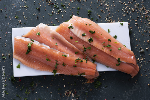 slices of raw trout.