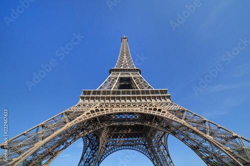 Deurstickers Eiffeltoren Eiffel tower in Paris against blue sky