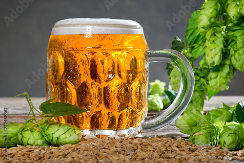 Foto op Aluminium Bier / Cider Beer glass and raw material for beer production