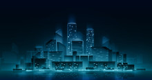 Night Cityscape With Neon Lights. Vector Architectural Illustration. Nightlife Urban Concept. City Skyline Reflected In Water.