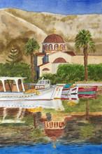 Watercolor Painting Of Elounda