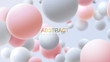 Flowing white and pink soft spheres. Vector realistic illustration. Abstract background with 3d geometric shapes. Modern cover design. Ads banner or brochure template. Dynamic wallpaper