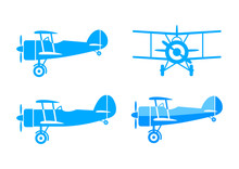 Blue Aircraft Vector Icons On ...