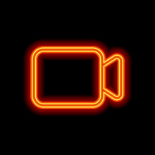 Video Camera Icon. Linear, Thin Outline. Orange Neon Style On Bl