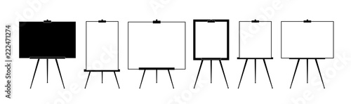 Photo Set Advertising stand or flip chart or blank artist easel isolated on white background