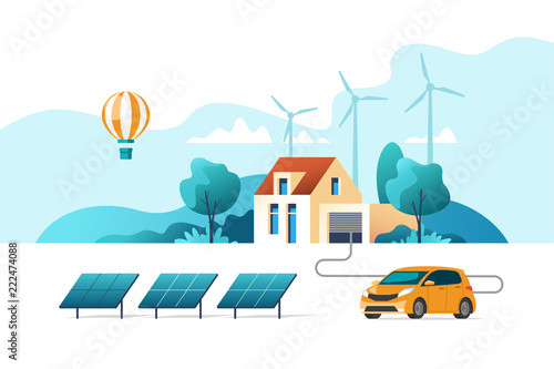 Poster Bleu clair Concept of eco friendly alternative energy. House with solar panel and wind turbines. Vector illustration.