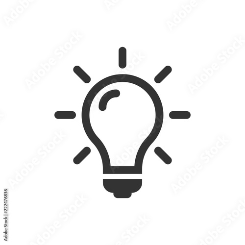 Photo  Light bulb icon in flat style