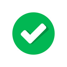 Check Mark Icon In Flat Style. Ok, Accept Vector Illustration On White Isolated Background. Tick Business Concept.