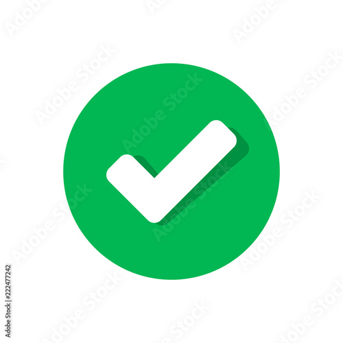 Photo Check mark icon in flat style
