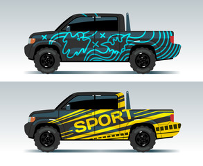 Racing car graphic. Truck wrapping background. Vehicle branding vector design. Transport race auto, sport and speed cab, trunk automobile illustration
