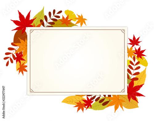 秋の紅葉とメッセージカード Fotobehang