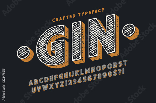 Decorative vector vintage typeface, letters and numbers Wallpaper Mural
