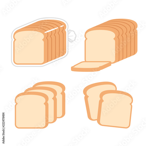 Fotografía Sliced white bread illustration set