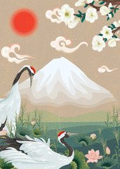 Fototapeta Japoński illustration with Japanese cranes and a mountain
