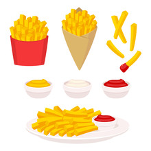 French Fries Illustration Set