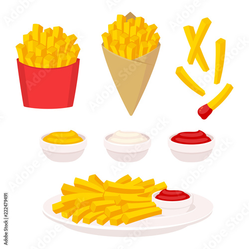 Fényképezés French fries illustration set
