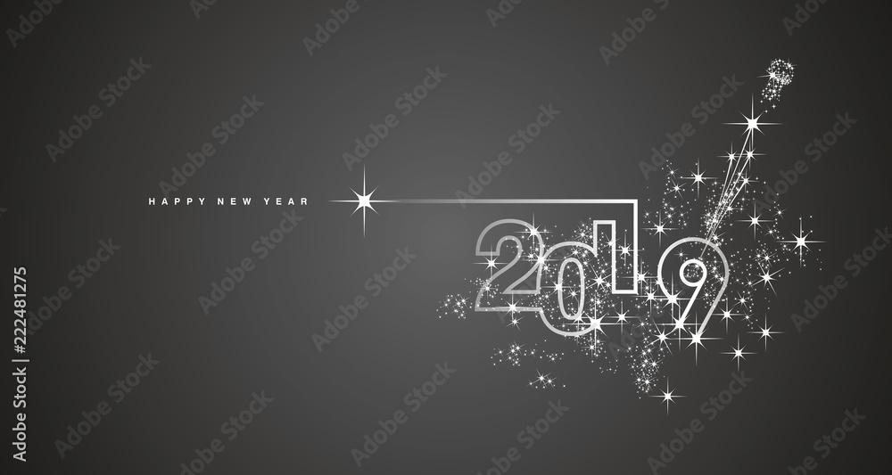 Fototapety, obrazy: New Year 2019 line design firework champagne white black vector