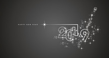 New Year 2019 Line Design Firework Champagne White Black Vector