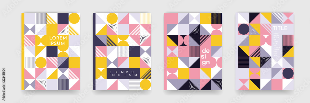 Fototapeta Triangle geometric pattern background texture for poster cover design. Minimal color vector banner template with circles, square