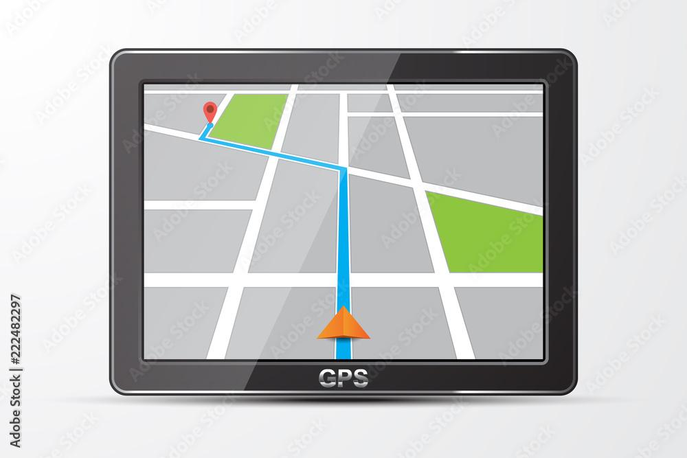 Fototapeta Vector gps navigator icon, isolated on white