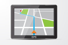 Vector Gps Navigator Icon, Isolated On White