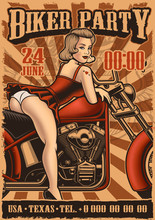 Vintage Poster With Pin Up Gir...