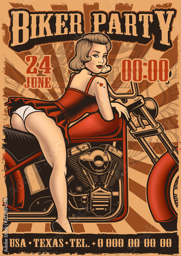 Vintage poster with pin up girl and motorcycle