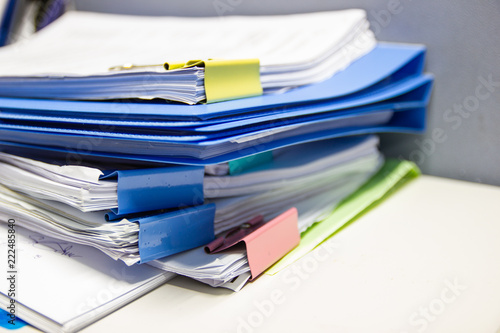 Fotografie, Obraz  file folder and Stack of business report paper file on the table in a work offic