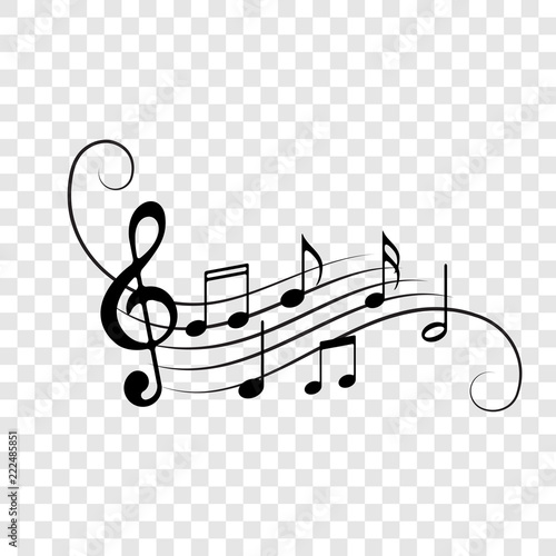 Music notes staff icons vector background - 222485851