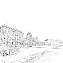Liverpool.England. United Kingdom Of Great Britain. Urban Sketch. Hand Drawn Vector Illustration