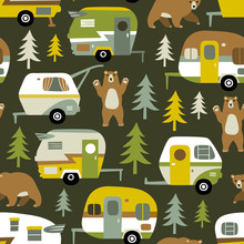 Seamless Vector Pattern With Camping Cars, Bears And Woods On Dark Green Background.