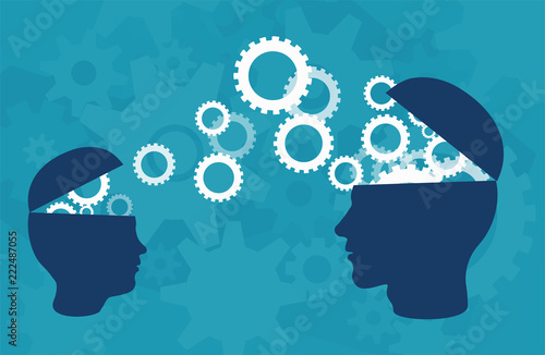 Fotomural Vector of two head silhouette of adult person and a child sharing knowledge, ide