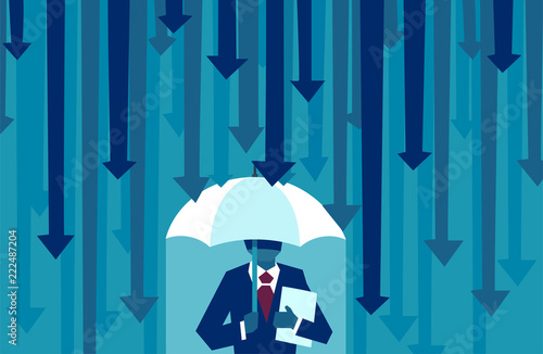 Cuadros en Lienzo Vector of a businessman with umbrella resisting protecting himself from falling