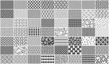 Mega Collection Of Black And White Seamless Geometric Pattern. Isolated On White Background