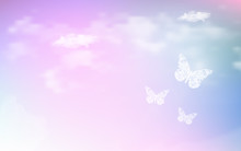 Fantasy Dreaming Sky With Low Poly Butterflies In Pastel Color Background. Hologram Heaven Rainbow And Magic Colorful Cloudscape Wallpaper. For Invitation Letter Card Graphic Design Of Nature Concept
