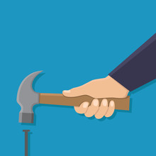 Hand Holding Hammer And A Nail, Flat Design Vector Illustration
