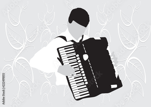 Fényképezés  Silhouette musician, accordion player on white background, vector illustration