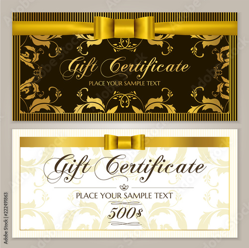 Valokuva  Gift certificate template (Gift Voucher layout, Coupon template)